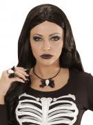 Totenkopf mit Schleife Halloween Gothic Halskette schwarz-weiss