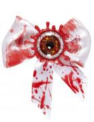 Blutiges Auge Halloween Fliege weiss-rot