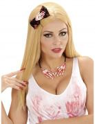 Blutige Skeletthände Halloween Halskette weiss-rot
