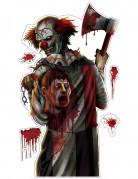 Halloween Horrorclown Aufkleber-Set 5 Stück bunt 52x25cm