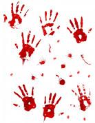 Halloween-Wandaufkleber Blutspuren weiss-rot