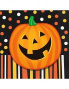 Halloween-Servietten Kürbis-Servietten mit Punkten und Streifen 16 Stück schwarz-orange-bunt 16,5x16,5cm