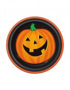Kürbis Teller Halloween Pappteller Set 8 Stück orange-schwarz 18cm