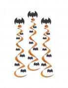 Fledermaus-Hängespiralen Halloweenparty-Deko 3 Stück schwarz-orange 76cm