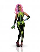 UV Skelett Halloween-Damenkostüm schwarz-bunt