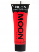 Moon Glow - Neon UV Gesicht- und Körperfarbe Schminke Makeup Bodypainting fluoreszierend intensiv rot 12ml