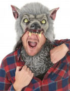Werwolfmaske mit Kunstfell Kapuzenmütze Halloween Kostümaccessoire grau