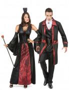 Vampir Paarkostüm für Halloween schwarz-rot