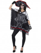 Skelettdame Dia de los Muertos Halloween Accessoire-Set 3-teilig schwarz-weiss