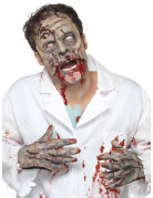 Zombie Halloween-Set Maske und Hände 3-teilig beige-grau