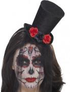 Dia de los Muertos Mini-Zylinder mit Schleier und Rosen Halloween-Accessoire schwarz-rot