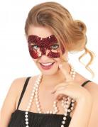 Pailletten-Maske Venezianische Maske für Erwachsene rot