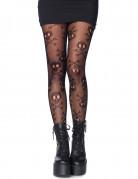 Halloween Damenstrumpfhose Totenkopf-Motiv schwarz