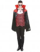 Glänzender Vampirumhang Halloween-Campe schwarz-rot 90cm