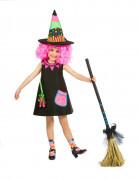 Süße Hexe Halloween Kinderkostüm schwarz-bunt
