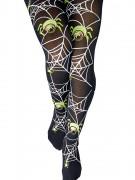 Nachtleuchtende Strumpfhose mit Spinnen Halloween schwarz-bunt