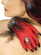 Teufelin Handschuhe mit Kunstnägeln rot-schwarz