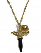 Pirat Halskette mit Säbel und Totenkopf gold-schwarz