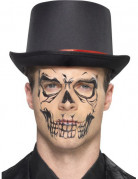 Dia de Los Muertos Skelett-Tattoo fürs Gesicht Halloween Make-up hautfarben-schwarz