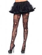 Dia de los Muertos Halloween-Strumpfhose mit Sugar Skulls Kostüm-Accessoire transparent-schwarz