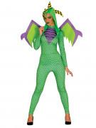 Drache Halloween Kostüm für Damen grün-gelb-lila