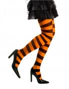Ringelstrumpfhose Kostümzubehör orange-schwarz