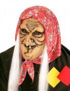 Schaurige Halloween Hexenmaske mit Kopftuch und Haaren beige-rot-weiss