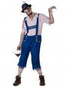Zombie Bayer Halloween-Herrenkostüm blau-weiss-rot