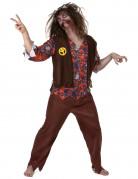 Zombie Hippie Halloween-Herrenkostüm braun-bunt