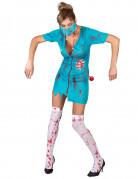 Untote Krankenschwester Halloween-Damenkostüm türkis-rot