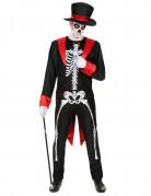 Skelett-Gentleman Halloween-Herrenkostüm schwarz-rot-weiss