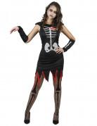 Skelettlady Halloweenkostüm für Damen schwarz-weiss