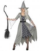 Geisterhexe Halloween-Damenkostüm im Zackenschnitt grau-schwarz