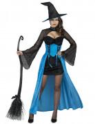 Sexy Zauberin Halloween-Hexenkostüm schwarz-blau