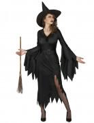 Elegantes Hexenkostüm im Zackenschnitt schwarz