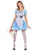 Alice-Halloweenkostüm Horrormärchen-Kostüm blau-weiss-rot