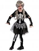Schauriges Skelettmädchen Halloween-Kinderkostüm schwarz-weiss