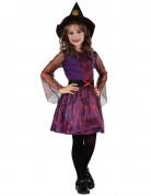 Kleine Hexe Kinderkostüm mit Spinnenmuster lila-orange