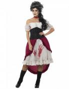 Blutige Geisterpiratin Halloween Kostüm für Damen weiss-schwarz-rot