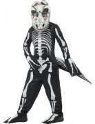 Untoter Dinosaurier Skelett-Kinderkostüm schwarz-weiss