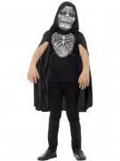 Sensenmannkostüm Accessoire-Set Maske und Plastron weiss-grau