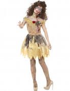 Schaurige Zombie-Prinzessin im Kleid Halloween Kostüm für Damen gelb-grau