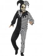 Teuflischer Harlekin Halloween-Herrenkostüm schwarz-weiss