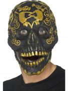 Verzierte Totenkopf-Maske Halloween-Maske schwarz-gold
