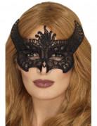 Gothic-Teufelin Augenmaske mit Spitze für Damen Halloween Kostümzubehör schwarz