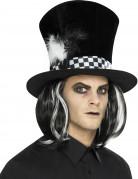 Gothic-Hut mit Haaren schwarz-weiss