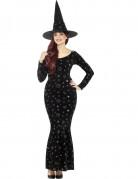 Geheimnisvolle Zauberin Halloweenkostüm für Damen schwarz-bunt