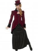 Elegantes Vampirkostüm für Damen Halloween bordeaux-schwarz