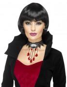 Vampir-Halsschmuck mit Bluttropfen und Zähnen schwarz-weiss-rot