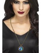 Edle Halloween-Halskette mit Augen-Anhänger blau-schwarz-gold